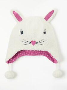 John Lewis & Partners Children's Borg Fleece Bunny Trapper Hat Size Medium New