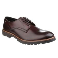 Base London BARRAGE Mens Smooth Leather Lace-Up Smart Formal Derby Shoes Brown