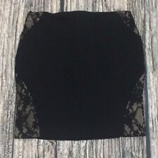 Express Women's Mini-Skirt Size 2 Form-Fitting Black w/ Some Lace Overlays