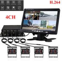 """4Pcs CCD IR Camera 4CH H.264 Car Vehicle DVR Video Recorder Box 7"""" Car Monitor"""