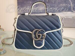 Gucci $2,190 Marmont Mini GG Supreme Blue White Top Handle Handbag Crossbody