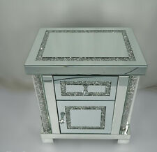 Sparkling Mirrored Glass 1 Drawer Crushed Crystal Diamond Bedside Cabinet Table