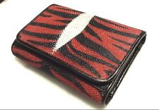 Genuine Stingray Wallets Skin Leather Short Trifold Red Black Clutch Mens Purses