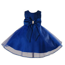 New Dark Blue Flower Girl Party Pageant Bridesmaid Dress 7-8 Years