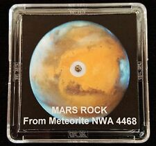 AUTHENTICATED MARTIAN METEORITE- Deluxe 12mg Mars Rock Art Display with Easel  h