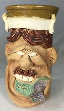 Tall Artisan Stoneware Beer Mug Comic Face Man Eating Fish Made in England 7.5""
