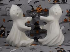 Halloween Ghost Candlesticks Pair Ceramic Bisque You Paint