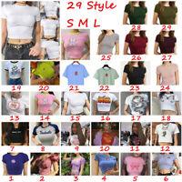 UK Womens Summer Casual Floral Short Sleeve T Shirt Ladies Slim Crop Top Blouse