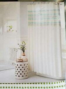 NEW Threshold Green Stripe Fringe Cotton Shower Curtain