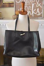 Longchamp Roseau Toggle Black Leather Tote Bag Handbag Purse