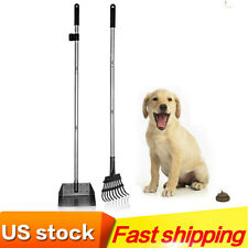 Dog Poop Scoopers Tray and Rake Set for Large Small Dogs Adjustable Long Handle