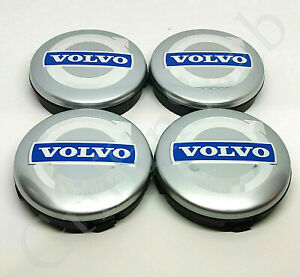 4x Volvo Alloy Wheel Centre Hub Caps 64mm Silver & Blue C30 C70 S40 V50 S60 V70