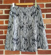 Ann Taylor Petites 10 SILK skirt partially pleated black blue gray white PAISLEY