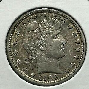 1903 BARBER SILVER QUARTER DOLLAR HIGHER GRADE COIN