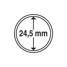 Capsules rondes 24,5mm, pour pièces de 50 centimes d'euro. Paquet de 10.