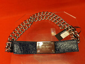 NWT GIANNI VERSACE BLUE LEATHER  2 CHAINS SILVER TONE BUCKLE BELT 80 32 $1050