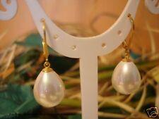 Ohrringe MuschelkernPerlen Tropfen Weiß, 925 Silber vergoldet, TOP Geschenk