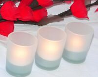 LED battery wind proof Tealight Candle + Frosted Glass 6cm holder MANY In Stock