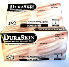 200 DURASKIN LARGE NITRILE POWDER FREE DISPOSABLE WORK GLOVES NO RUBBER LATEX LG