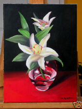 White Lily, Red, Classical, Original Oil Painting, Signed, Wall Art, Home Deco