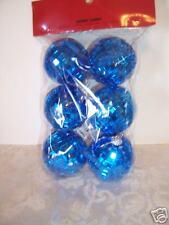 6 Blue Glass Christmas Ornaments