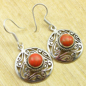 """Orange Copper Turquoise Anniversary Earrings 1.6"""" Silver Plated Jewelry"""