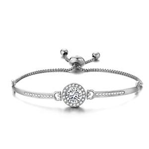 Silver Halo Friendship Bracelet Created with Swarovski® Crystals by Philip Jones
