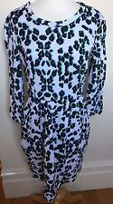 JAG Aqua Leopard Print 3/4 Sleeve Zipper Back Tracksuit Cotton Shift Dress 8