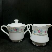 Sugar Creamer Set Imoco Stratford #1188 Pink Blue Yellow Flowers Fine China