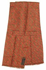 "Gentleman's ATWARDSON Green Red PAISLEY Double Twill Silk 50"" Fringed SCARF"