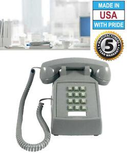 RETRO SLATE GRAY/GREY PUSH BUTTON DESK TELEPHONE VINTAGE STYLE CORDED PHONE