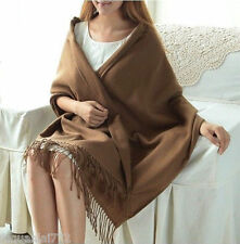 New Women's Fashion Coffee 100% Cashmere Pashmina Soft Warm Wrap Shawl Scarf