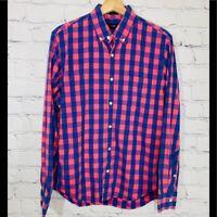 J. CREW Blue & Pink Plaid Check Slim Fit Button Shirt Long Sleeve Men's MEDIUM