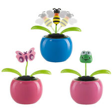 Set Of 3 Solar Powered Dancing Flower Animal Toys For Car Dashboard Home Window