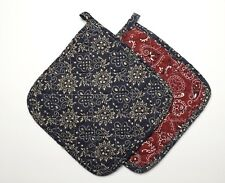 Set of 2 Great Finds Cowboy Western ROUNDUP Quilted Cotton Pot Holders