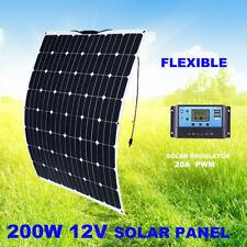 200W FLEXIBLE Solar Panel KIT 12V Generator Caravan Camping PWM 20A Regulator
