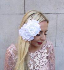 Grand double blanc fleur rose pince à cheveux 1950 S Vintage ROCKABILLY Fascinator 4735
