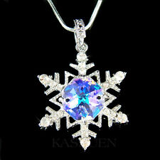 w Swarovski Crystal AB SNOWFLAKE flower Holiday Xmas bridal Pendant Necklace New