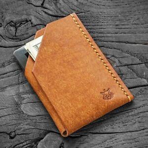 Vegetable tanned leather handmade minimalist wallet card holder