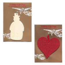 30 Snowman & Heart Glittered Christmas Gift Tags in Cello Packs of 3   XT0047