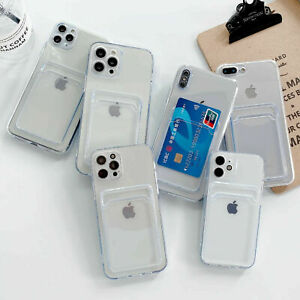 Clear Case With Card Slot Holder For iPhone 13 12 11 Pro Max Mini XS XR X 7 8 +