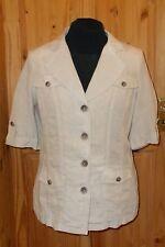 PER UNA M&S beige LINEN short sleeve safari holiday suit jacket top BNWT 16 44