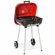 Outsunny Barbecue a Carbonella con Coperchio e Ruote 45 x 47.5 x 70 cm - Rosso/Nero
