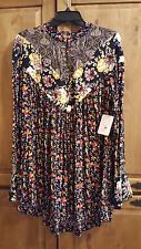 FREE PEOPLE WILDFLOWER FIELDS TUNIC IN THE COLOR BLACK SIZE M NWT