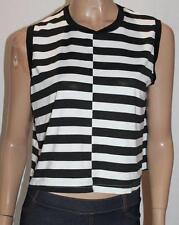 Ally Designer Black White Stripe Boxy Tank Top Size 12 BNWT #sK12