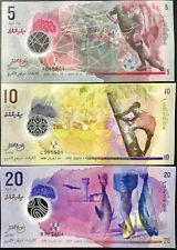 Maldives Malediven SET 3 PCS 5+10+20 Rufiyaa POLYMER BANKNOTE UNC CURRENCY ASIA