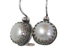 925 Earrings SHABLOOL fresh water pearls White drop Sterling Silver Didae