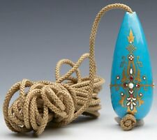 More details for antique french sevres jeweled bleu celeste bell pull 18/19th c.