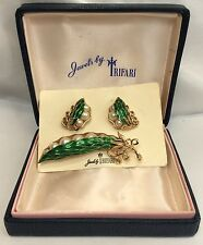 Rare Trifari Enamel Peas In The Pod Pin & Earrings M.I.B. (c220)