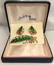 Rare Trifari Enamel Peas In The Pod Pin & Earrings M.I.B. (c220)